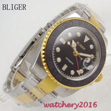 40mm Bliger sapphire glass Date adjust black dial GMT Automatic Movement Men's Watch цена