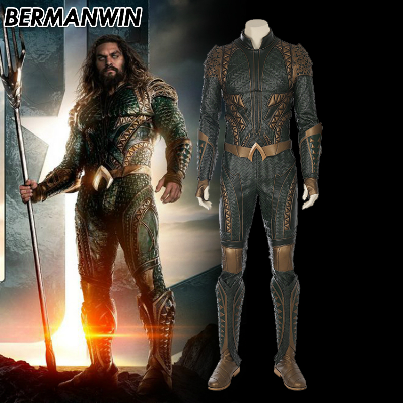BERMANWIN High Quality Justice League Aquaman costume Adult Men Superhero Outfit Halloween Cosplay Costume