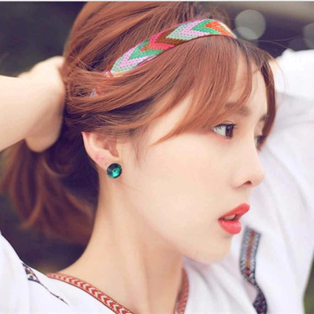Mulheres meninas de madeira bandana retro hairband impressão flor headpiece acessórios para o cabelo turbante elástico grinalda