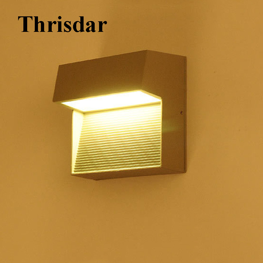 Thrisdar 9W Waterproof LED Wall Lamp IP65 Aluminum Outdoor Garden Stairs Fence Porch Light Courtyard Balcony Corridor Wall Light thrisdar 20w ip65 waterproof wall lamps 40leds outdoor garden porch wall sconce lamp corridor garden hotel pathway porch light