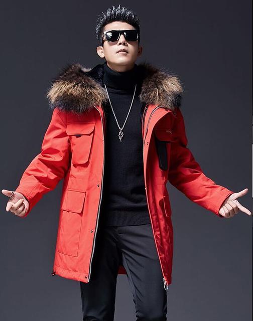 New Men s Big Raccoon Fur Collar Winter Parka Real Wool Lining Man s White Duck  Down Jacket Male Winter Coats Red man jackets f6351e957