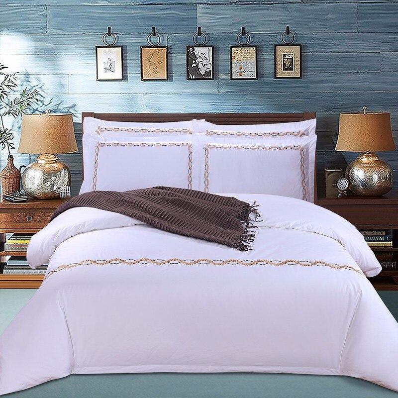 4 pièces 100 S egypte coton broderie orientale couleur blanche hôtel literie ensembles roi reine lit ensemble housse de couette ensemble drap de lit or blanc
