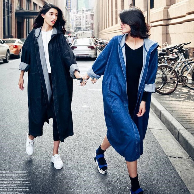 Autumn Fashion New BF Style Loose Solid Color Maxi Women Denim Long Trench Coat Hooded Casual Femme Denim Windbreaker MZ2922