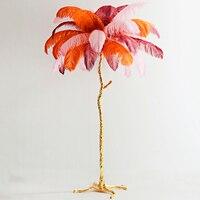 Lámpara de suelo de cobre con plumas de avestruz Noridc  lámpara de pie de cobre para sala de estar  dormitorio  luces de suelo  iluminación para decoración de interiores|Lámparas de pie| |  -