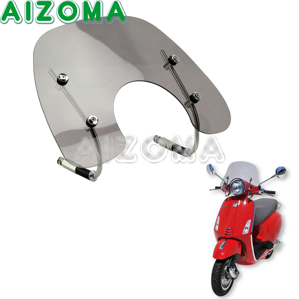 Smoke Flyscreen Windscreen Wind Deflector Motorcycle Windshield Protection With Fitting Kit For VESPA PRIMAVERA 150 FLYSCREEN 49 45cm for 125cc 150cc motorcycle windscreen deflector wind deflector wind shield windscherm scooter free shipping