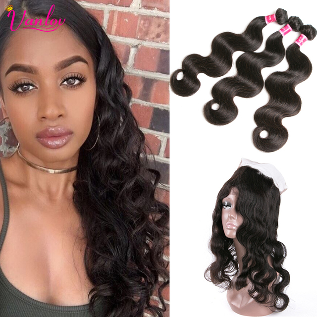 Malaysian Body Wave With 360 Frontal Closure Human Hair Bundles With 360 Lace Frontal Weave Malaysian Virgin Hair With Closure