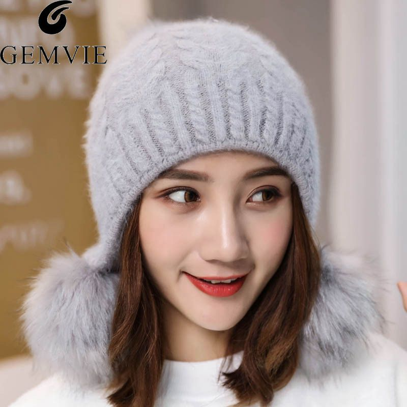 GEMVIE Winter Warm Hats For Women Girls Cute Fur Ball Knitted Hat Solid Color   Beanies   Cap Female Earflap   Skullies     Beanies