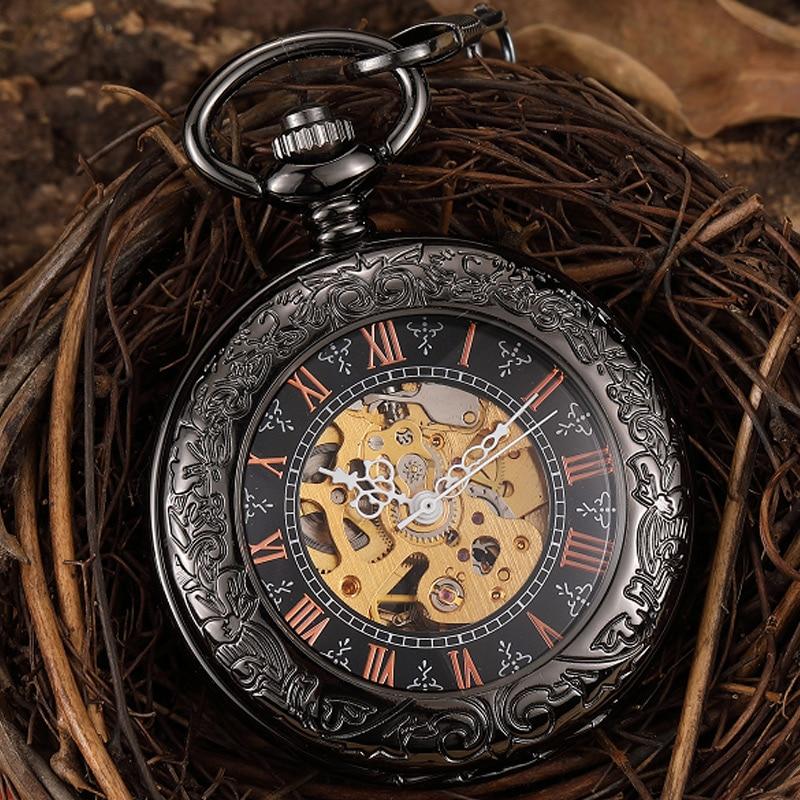 Relógio de Bolso Mecânico do Vintage Relógio de Bolso com Corrente Mão de Esqueleto Preto Branco Steampunk Vento Mãos Homens com Corrente Fob Roman Numberals Presente