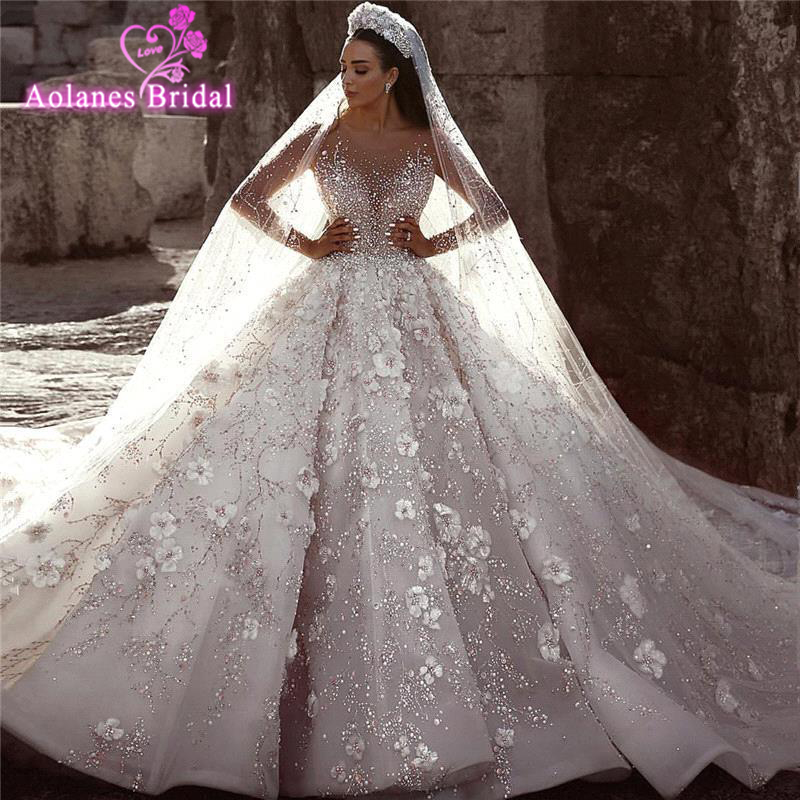 Arabic Wedding Dresses 2019 Lace Appliques Beads Ball Bridal Gown Long Sleeves 3d Flowers Cathedral Royal Train Vestido De Novia