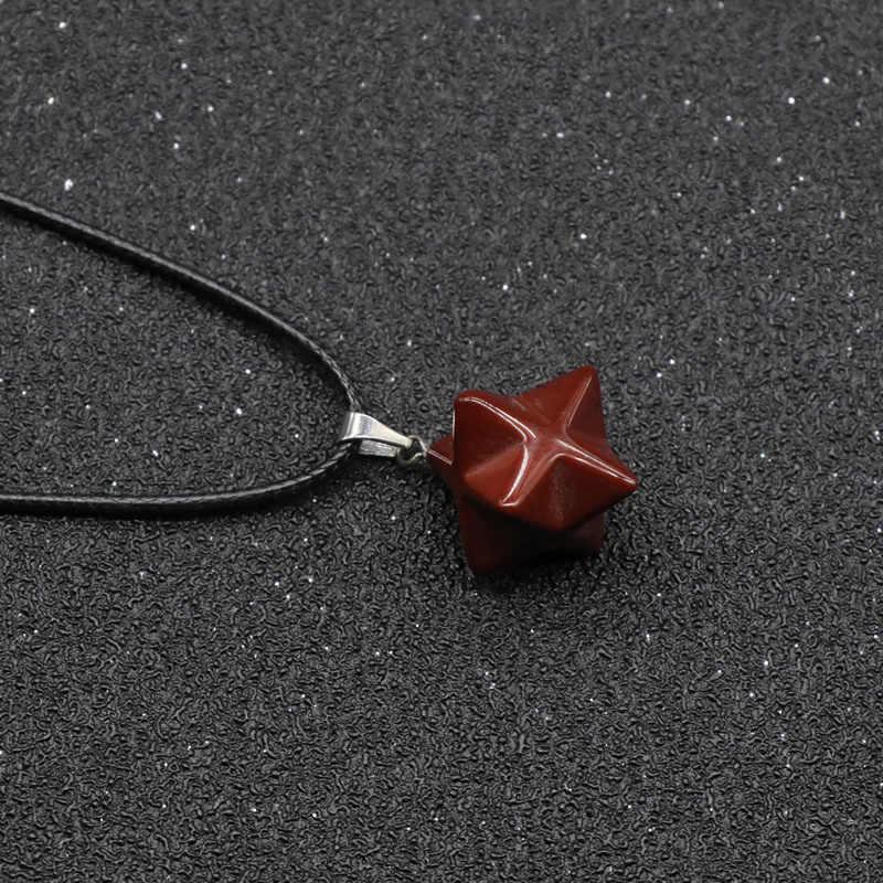 Подвески в стиле ретро Merkaba Chakras, ожерелья из натурального камня для Рэйки, лечение чакры, звезда, опал, кварцевые Агатовые ожерелья для женщин и мужчин
