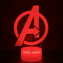 3d Night Lamp Marvel The Avengers Logo Home Decoration Crafts Bright Base Color Changing Cool Baby LED Light for Kids