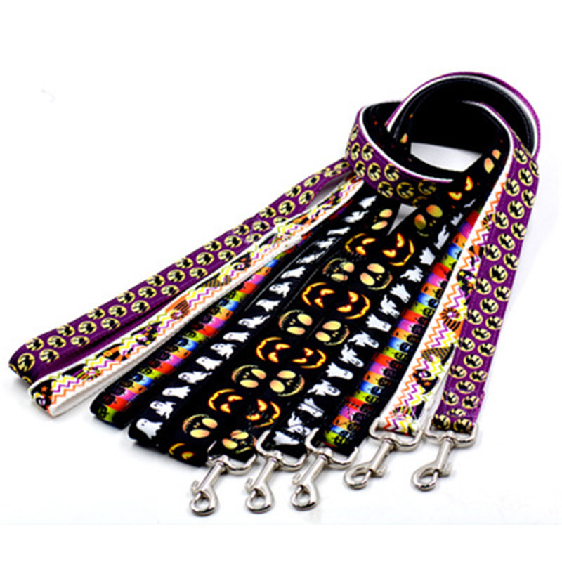 2018 New Pet Halloween Dog Leashes Collar Pet Cats Printing Leashes Combination Traction Rope Leash Strong Belt Collar ADA15