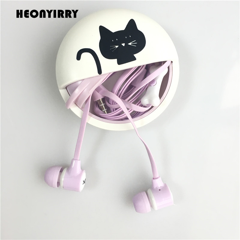 Cute Cartoon Earphone Mini Cat Pattern Earbuds In Ear Noise Isolating Earphones With Mic de ouvido for Iphone Samsung Xiaomi cute cartoon cat claw style in ear earphones for mp3 mp4 more blue white 3 5mm plug