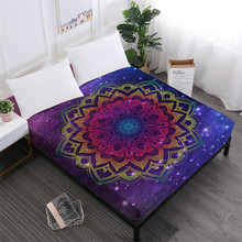 Boho Mandala Bed Sheet Colorful Flowers Print Fitted Sheets Luxury Mattress Cover Elastic Band Home Textile D25
