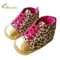 Retail Baby Girl Shoes Cute Leopard Pattern Infant Shoes Lace- up Casual Toddlers Footwear Soft Sole Sneakers Drop Free Shipping