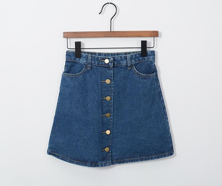 Blue Midi Denim High Waist Skirt 3