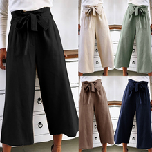 купить Zipper Palazzo Pants Ginger Frill Waist Ruffle Wide Leg Pants 2018 High Waist Belted Women Elegant OL Style Summer Trousers дешево