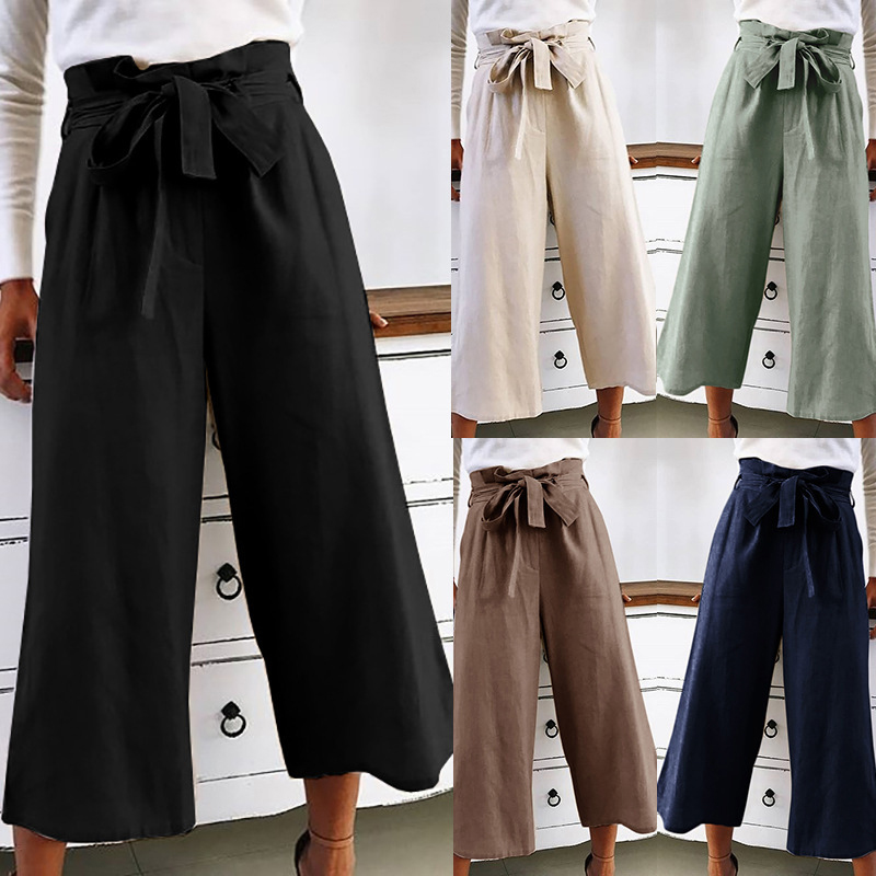 Zipper Palazzo   Pants   Ginger Frill Waist Ruffle   Wide     Leg     Pants   2018 High Waist Belted Women Elegant OL Style Summer Trousers