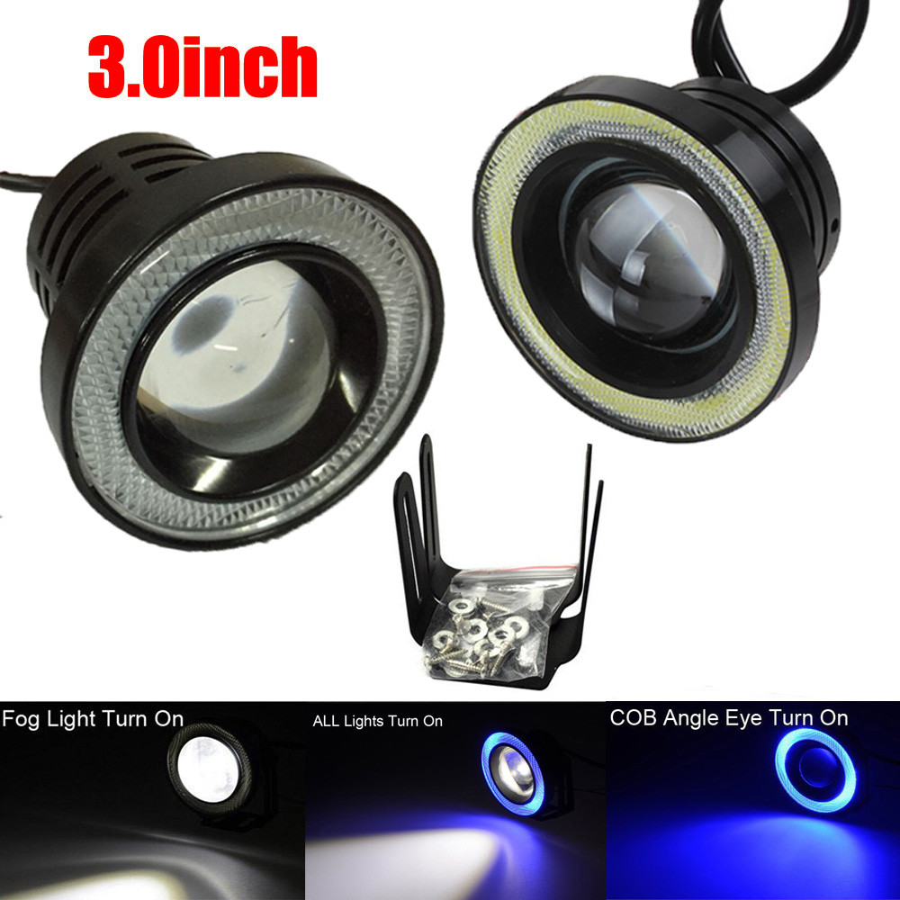 3.0Inch Car Fog Light COB LED Projector Halo Ring DRL Driving Bulbs safe 17Sept13 new 1pc h4 100w led 20 smd projector fog driving drl light bulbs hid 6000k white light c45