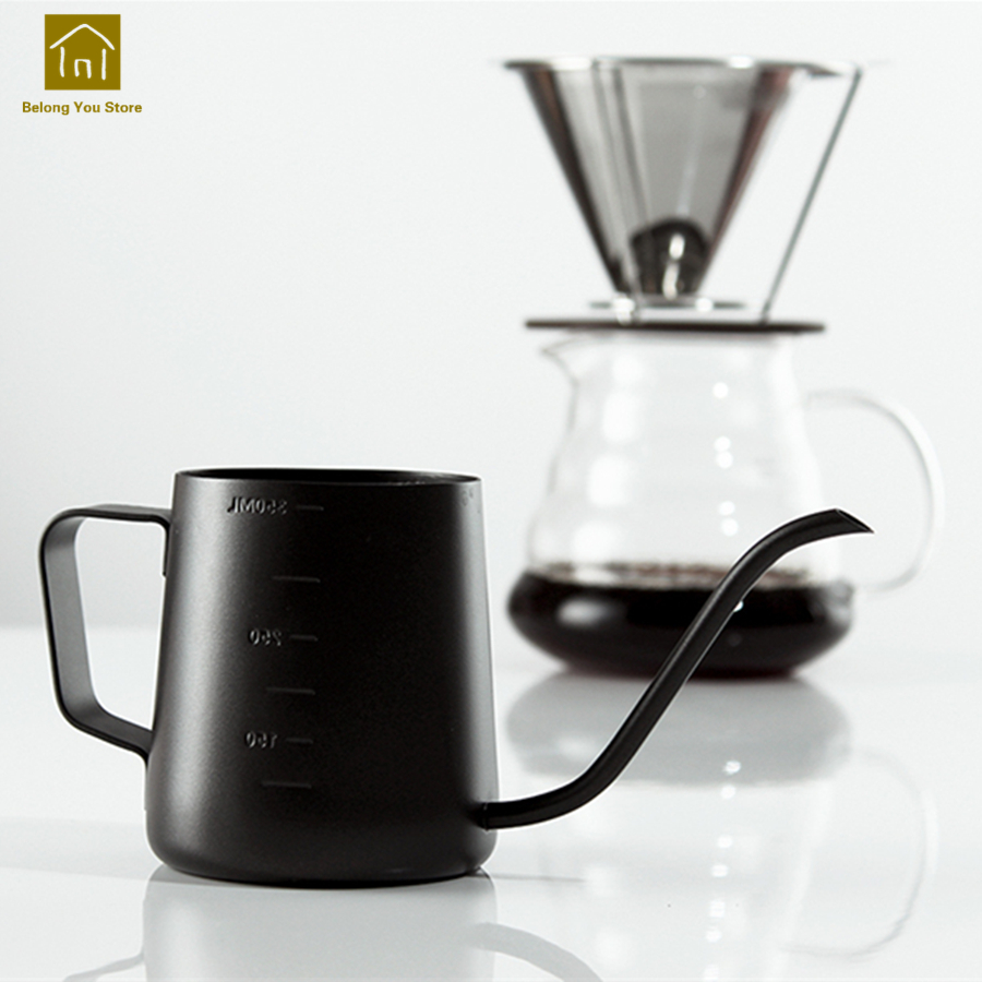 Home Stainless Steel Long Mouth Pot Hand Wash Coffee Makers Espresso Machines Jarras Kettle Gas Termo Hervidor Jug Milk WKB017