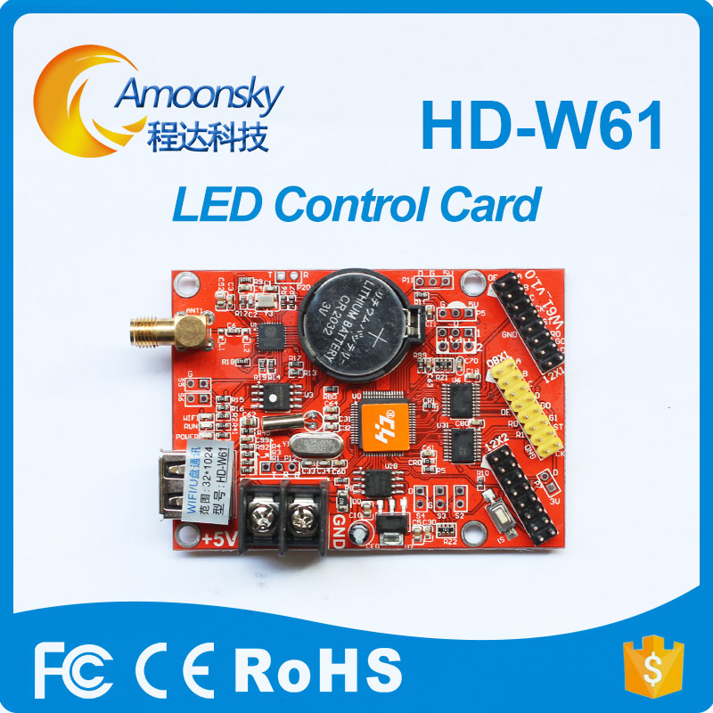 HD W61 Led Programable Display Control Card Wifi Usb Led Controller Red Green Blue Color Led Control Card P10 Display Controller