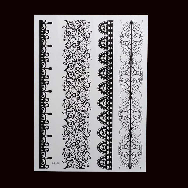 c16c7d268b6d1 ... 1pc HOT New Black Henna Tattoo Fake Lace Flash Arabic Indian Mandala  Wedding For Bride Art ...
