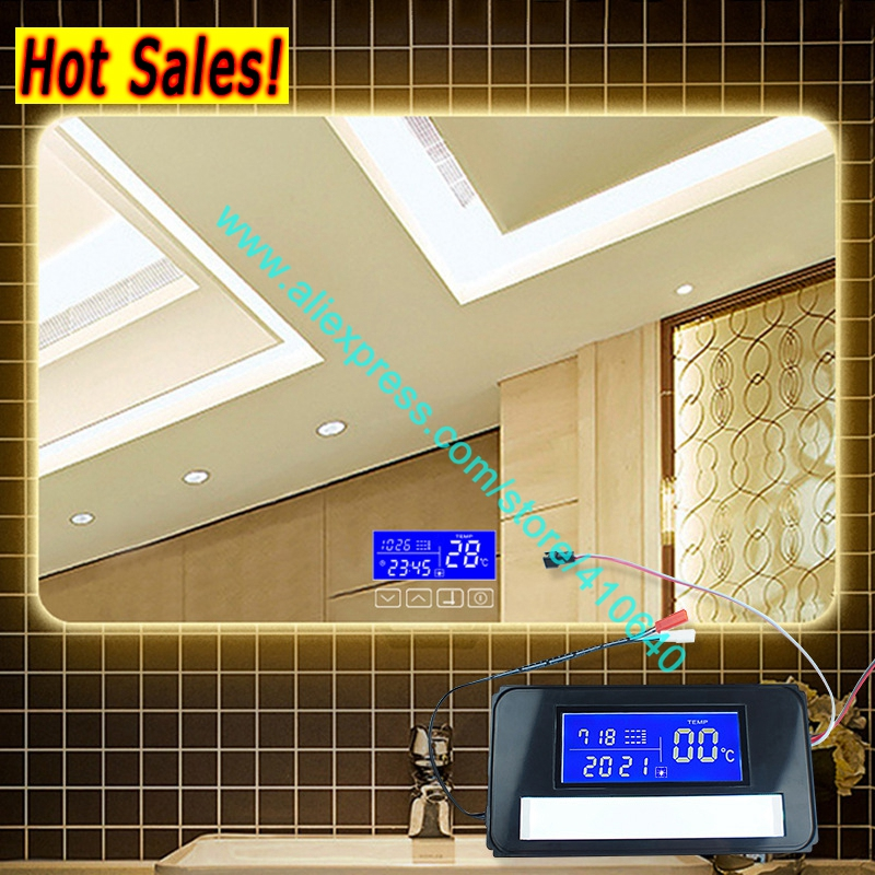 Time and Temperature Display System On Mirror Surface Light Mirror Switch Touch Switch