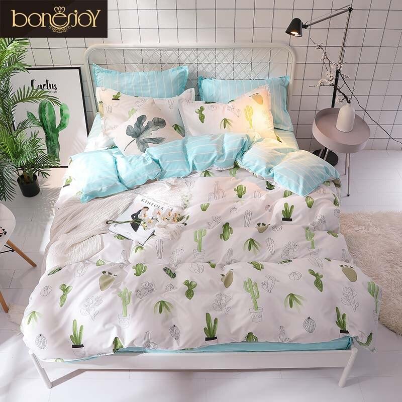 Bonenjoy cactus verde jogo de cama rainha tamanho planta casa folha cama única roupa ropa cama rei conjunto capa edredão
