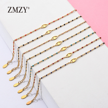 ZMZY 7pcs Mixed Color Boho Evil Eye Charm Vintage Stainless Steel Bracelet Women Gold Color Chain Bracelets Bangles Jewelry