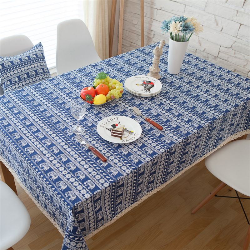 Bohemian Style Cotton & Linen Fabric Tableclothes For Rectangular Tables Cover Dustproof Tea Table Cloth White Lace Side Decor