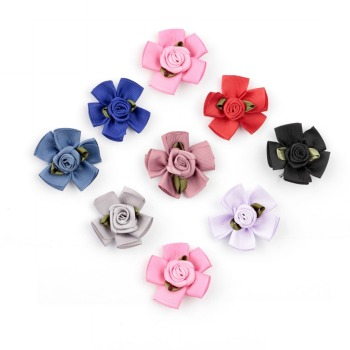 50pcs/lot 1.8 18colors Artificial Ruffled Rose Fabric Flowers For Headwear DIY Satin Ribbon Petal Flower Hair Accessories