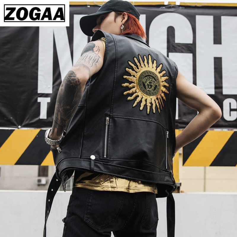 Zogga 2019 Men Spring Vests Night Club Rock Punk Locomotive Leather Vest Solid Black Sleeveless Jacket With Sun Flower Print