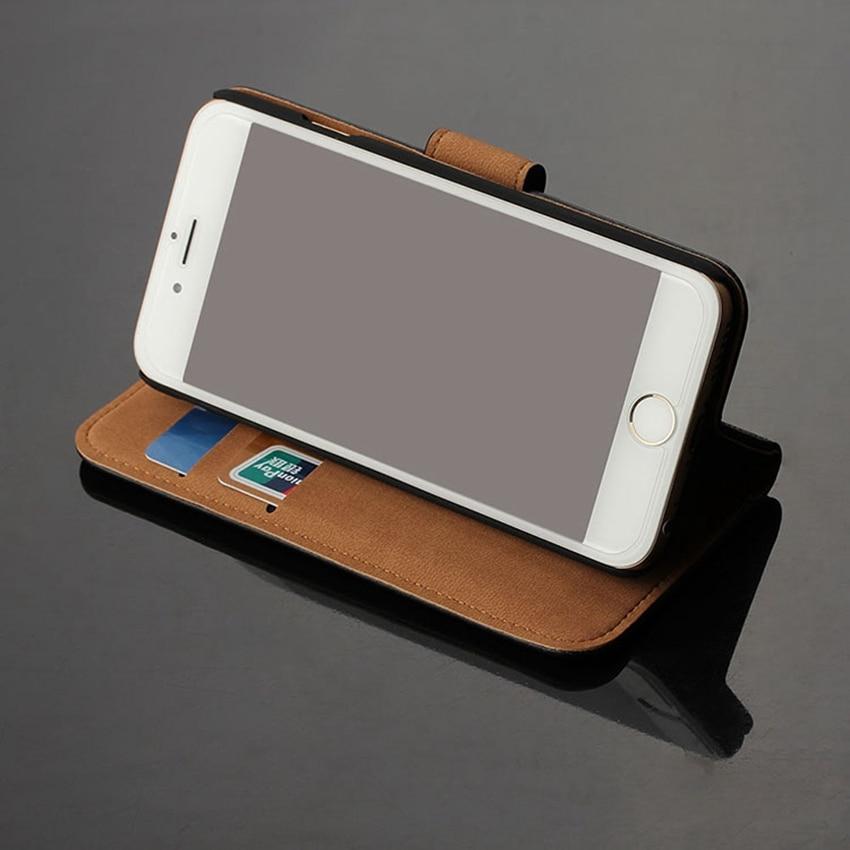 Äkta äkta läder plånbok väska Magnetlås Kickstand Flip baksida - Reservdelar och tillbehör för mobiltelefoner - Foto 4