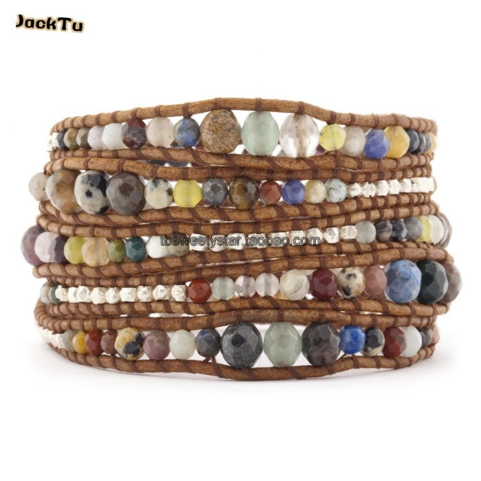 new style mixed natural stone wrap bracelets on natural brown leather