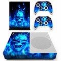 Для Microsoft Xbox One Slim Консоли Наклейка Синий Огонь Череп Виниловые Наклейки для Контроллер Xbox One Наклейки Кожи