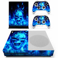 For Microsoft Xbox One Slim Console Sticker Blue Fire Skull Vinyl Decals for Xbox One Controller Skin Stickers