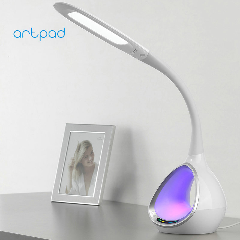 ArtPad New Long Arm 5-Grade Brightness Touch Eye Care LED Desk Lamp with Magic Colorful RGB Night Bedside Table Light