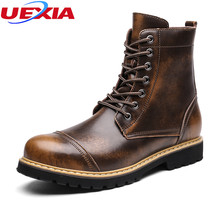 UEXIA Leather Boots New Arrival Autumn Winter Warm Footwear Man Ankle Shoes Casual Lace-Up High Quality Mens Tactical Boots bota