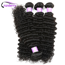 Cranberry Hair Raw Indian Deep Wave Hair Bundles 100g/pc 100% Human Hair Weave Bundles Non Remy Human Hair Extensions Free Ship(China)
