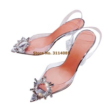 Women Luxuirous Transparent Lucite Thin Heels Wedding Shoes Shining Beaded Pointed Toe Pumps Clear PVC Strappy Heels Shoes Pumps недорого