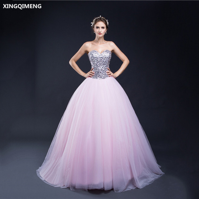 a0402e2a8b5 In Stock Silver and Pink Cheap Quinceanera Dresses Crystals Sequined Tulle  Ball Gown Formal Dress Chic