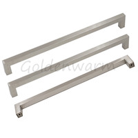 Drawer Pulls Kitchen Cabinet Handles Goldenwarm LSJ12BSS Long Square Bar Stainless Steel Handle 224mm 256mm 288mm