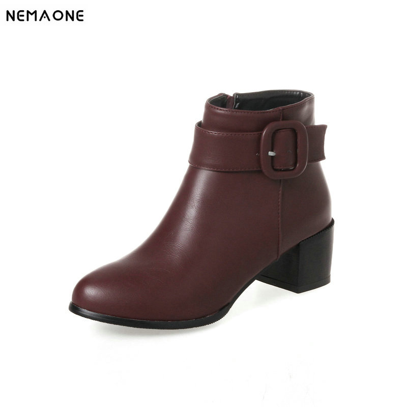 ad3731ca65f61 NEMAONE 5cm thick med Heels ladies ankle boots rouned toe women Boots  spring autumn party dress ...
