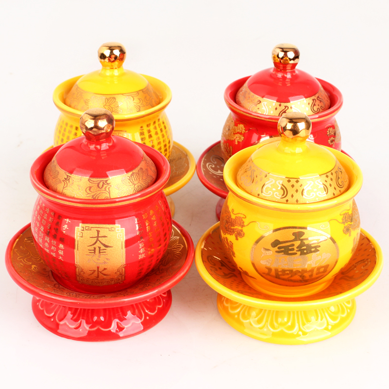 Ancient <font><b>Sacred</b></font> Lotus Holy Water <font><b>Cup</b></font> Bright-coloured yellow, red dragon Empaistic Pure Water <font><b>Cup</b></font> Set Buddhist supplier