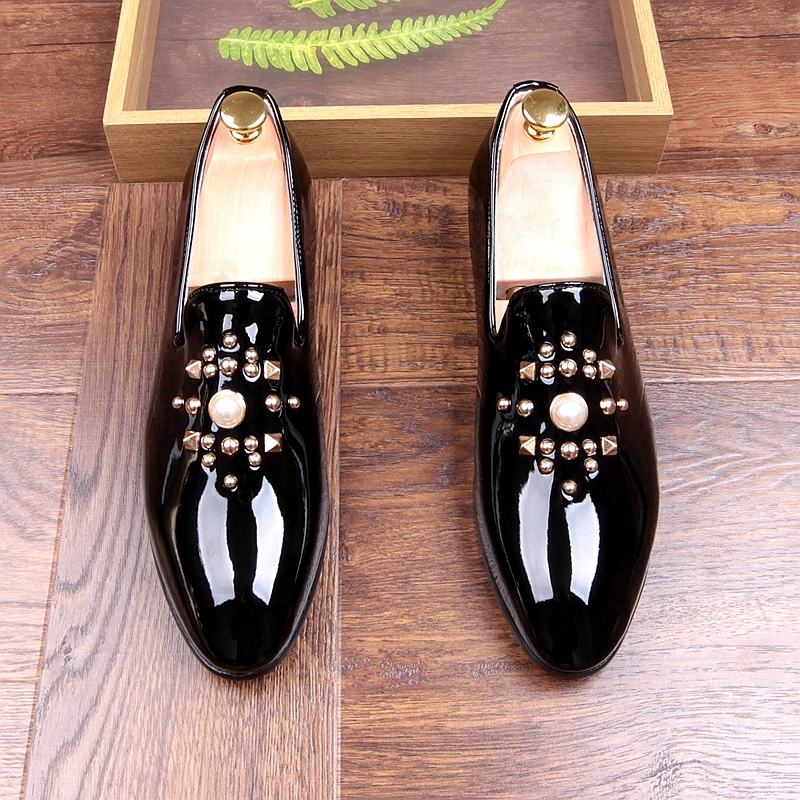 Fashion Gold Black Gray Mens Loafers Shoes Pearls Slip on Handmade Patent leather Driving Boats Shoes Flats Casual Mens Shoe Hot 5