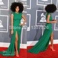 Luxo Bling Bling Celebridade No Tapete Vermelho Vestidos Tripulação Da Luva do Tampão Alta Fenda Verde Esmeralda Vestidos de Noite Prom Vestidos