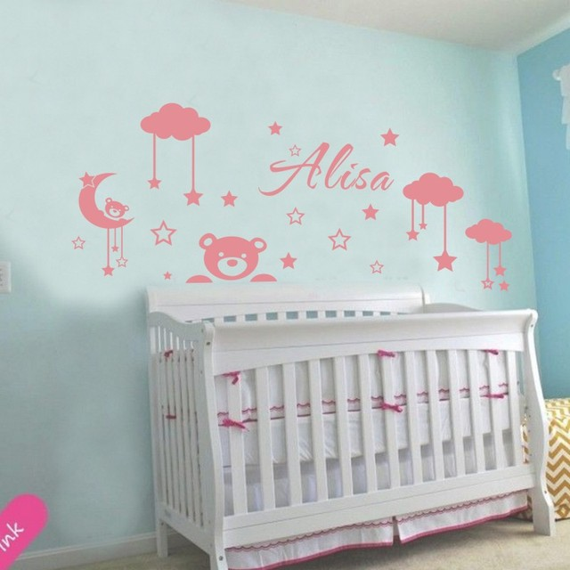 Customized Personalized Kids Name DIY Vinyl Wall Stickers Clouds Moon And  Stars Cartoon Decorative Wall Decals