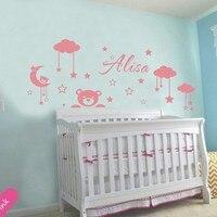 Kundenspezifische Personalisierte Kinder Name DIY Vinyl Wandaufkleber Wolken Mond Und Sterne Cartoon Dekorative Wandtattoos für Babys Raum