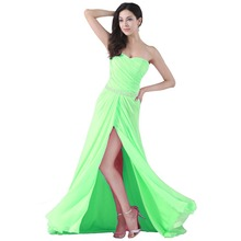 New Long Strapless Sexy Slit Bridesmaid Dress 2015 Elegant Chiffon vestido de noiva Formal Dresses