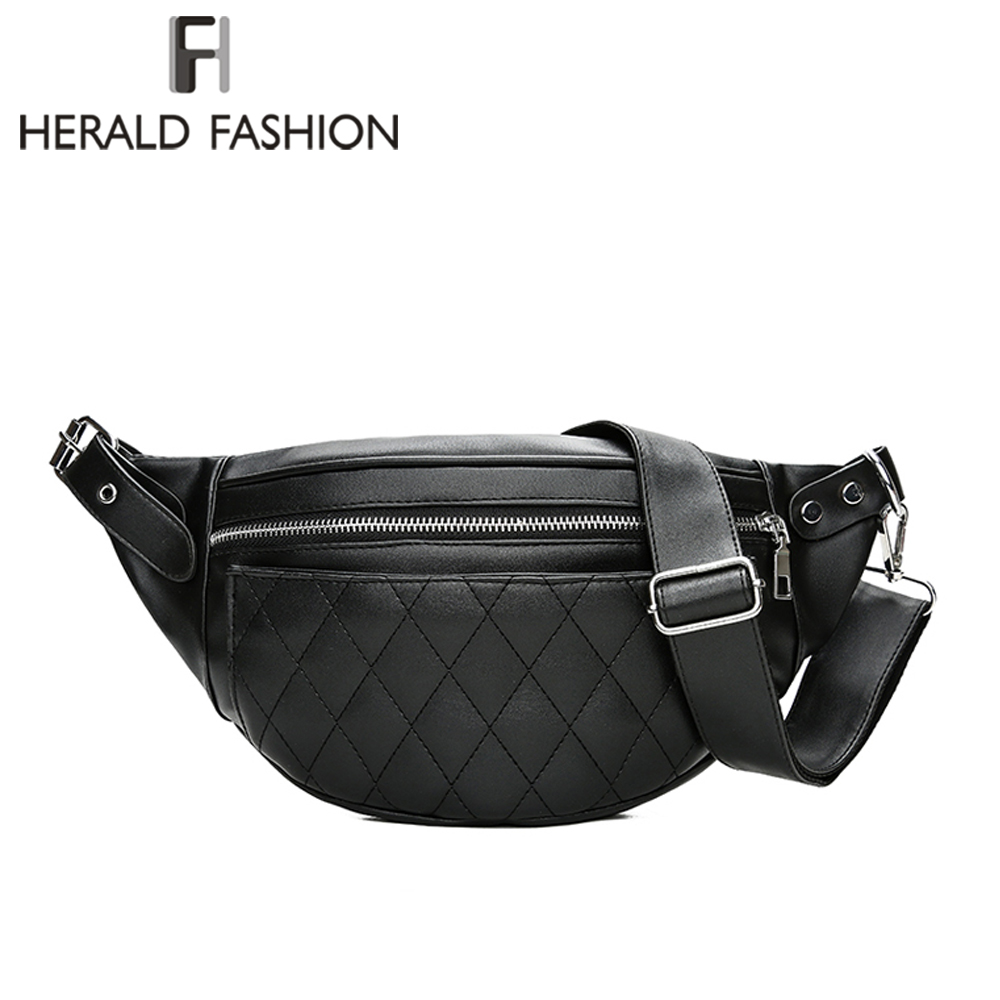 Herald Fashion Women Leather Waist Belt Bag Plaid Pattern Belt Pack Waist Bag Small Women Bag Travel Bag Waist Pack Bolsas waist bag